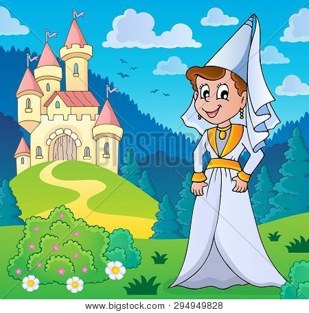 Medieval Lady Near Stylized Castle - Eps10 Vector Picture Illustration.