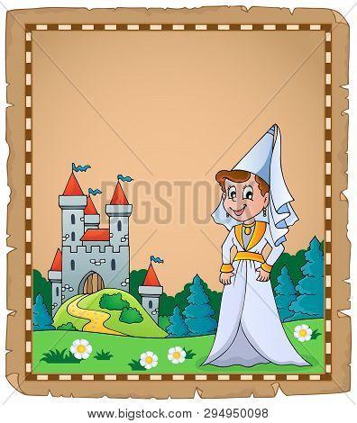 Medieval Lady Theme Parchment 2 - Eps10 Vector Picture Illustration.
