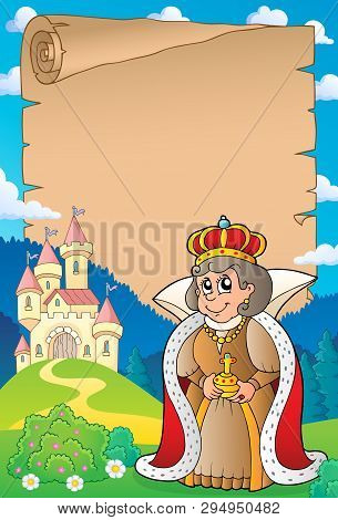 Parchment With Queen Near Castle 5 - Eps10 Vector Picture Illustration.