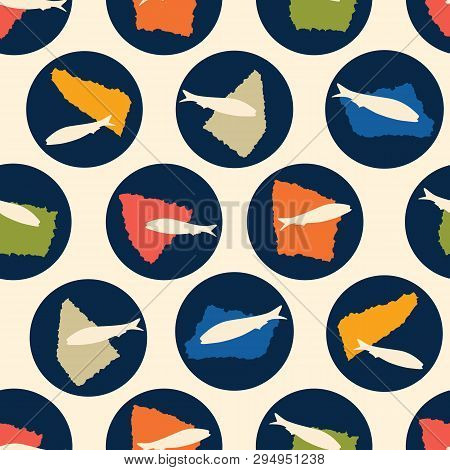 Sardine Fish Swimming Seamless Vector Pattern. Lisbon St Antonio Traditional Portugese Food Festival