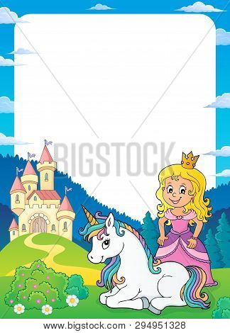 Princess And Unicorn Theme Frame 1 - Eps10 Vector Picture Illustration.