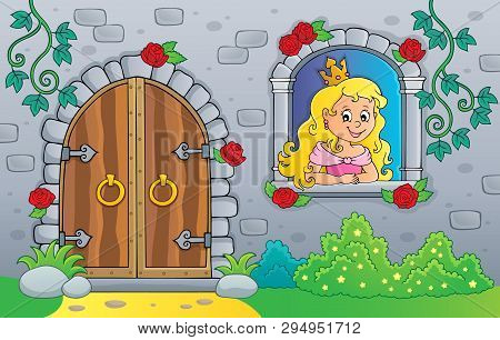 Princess In Window And Old Door - Eps10 Vector Picture Illustration.