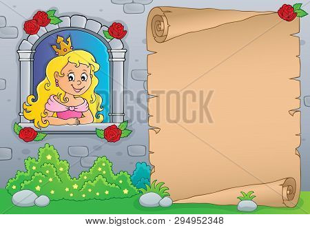 Princess In Window Theme Parchment 1 - Eps10 Vector Picture Illustration.