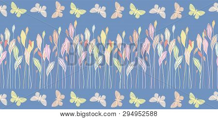 Hand Drawn Pastel Meadow Leaves And Butterflies In Border Design. Seamless Vector Pattern On Blue Ba