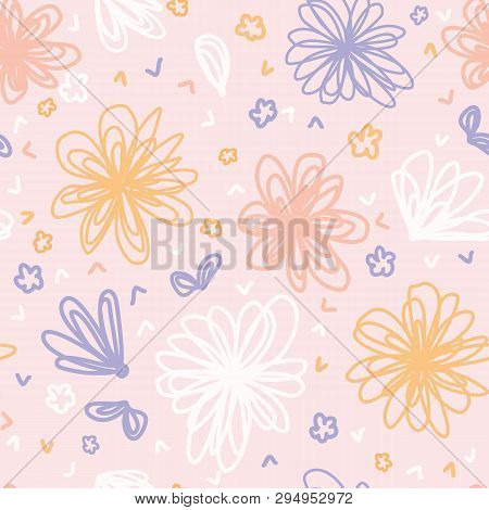 Hand Painted Large Scale Floral Vector Seamless Pattern. Pretty Pastel Color Background Blooms.