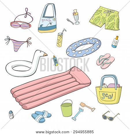 Summer And Beach Items. Set Of Hand Drawn Colorful Vector Illustrations. Line On White Background. L