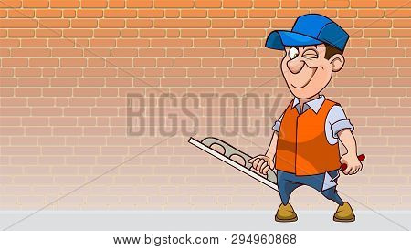 Cartoon Winking Man With Tools For Plaster Wall On Brick Wall Background