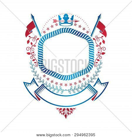 Graphic Emblem Composed With Royal Crown Element, Luxury Ribbon And Armory. Heraldic Coat Of Arms De