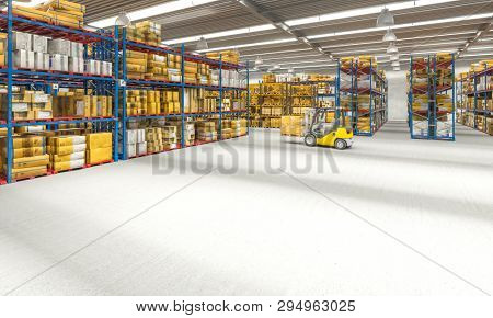 view of a warehouse full of goods and a forklift in action. 3d image render. trade and logistics concept.