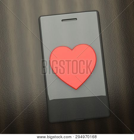 Smartphone Over Table With Big Red Heart In The Middle
