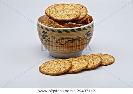 Cracker Biscuits In Dish.