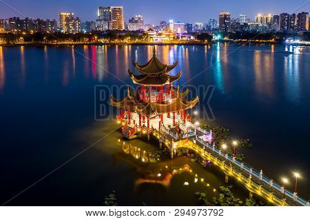 Kaohsiung's Famous Tourist Attractions Aerial View, Beautiful Decorated Traditional Chinese Pagoda W