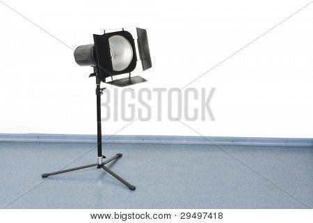 studio photoflash stands on a tripod