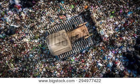 Garbage Pile  In Trash Dump Or Landfill, Aerial View Garbage Trucks Unload Garbage To A Landfill,  G