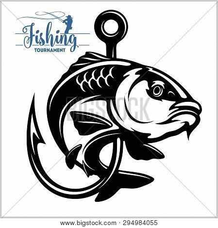 Carp Fish. Fishing Club Sign Or Emblem. Fisherman Sport Adventure Badge With Vector Logo.