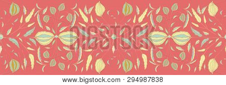 Hand Painted Stylised Floral Vector Border On Orange Background. Green, Yellow, Coral Flowers And Le