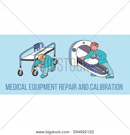Medical Equipment Repair And Calibration Banner With Text. Fine For Medical Services Promo Brochures