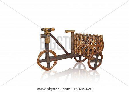 three wheels of wood bicycle