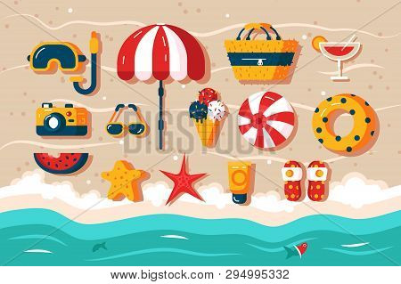 Set Of Various Beach Accessories Vector Illustration