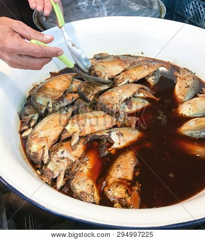 Arranged Boiled Mackerel Sauce Soup In  Stainless Display In The Market