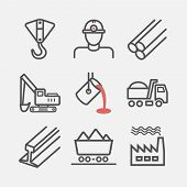 Metallurgy. Line icons. Vector signs for web graphics. poster