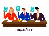 Competition jury. Contest judges with score panels at table vector concept. Illustration of competition rating jury, contest group people poster