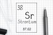 The Periodic table of elements. Handwriting chemical element Strontium Sr with black pen, test tube and pipette. Close-up. poster
