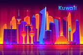 Kuwait metropolis nightlife cartoon vector banner template with modern asian, muslim culture city, futuristic architecture skyscrapers illuminated neon lights, reflecting in bay water illustration poster