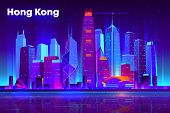 Hong Kong city nightlife cartoon vector banner, poster template. Modern asia metropolis downtown futuristic skyscrapers illuminated neon lights, reflecting in bay illustration. Cyberpunk background poster