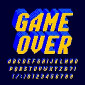 Game Over alphabet font. Digital pixel letters and numbers. 80s arcade video game typescript. poster