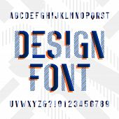 Design alphabet font. Modern geometric letters and numbers on bright background. Vector typescript for your design. poster