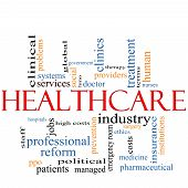 A Healthcare word cloud concept with terms such as reform industry insurance hospital doctor nursers and more. poster