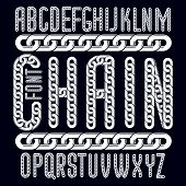 Vector condensed, tall font. Trendy typescript can be used in art creation. Capital decorative letters created using connected chain link. poster
