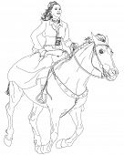 girl riding a horse. series of Wild West. Bitmap copy my vector poster