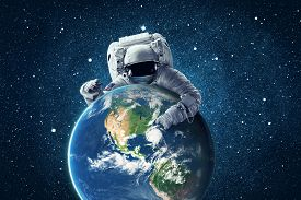 Illustration Of Astronaut In Outer Space. Conceptual Image. Elements Of This Image Furnished By Nasa