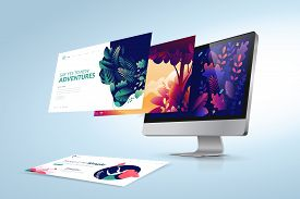 Web Design Template. Vector Illustration Concept Of Website Design And Development, App Development,