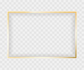 Gold Shiny Glowing Rectangle Frame Isolated On Transparent Background. Luxury Realistic Golden Banne