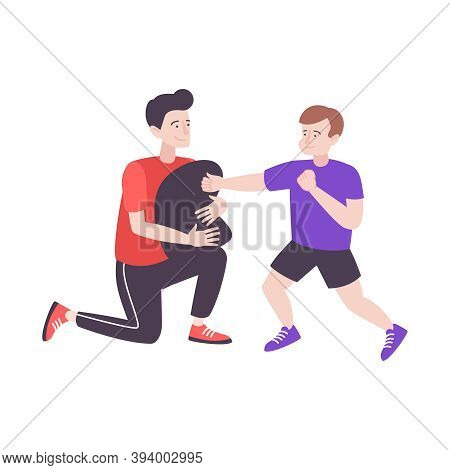 Self Defense Flat Composition With Characters Of Father And Son Beating Punching Bag Pillow Vector I