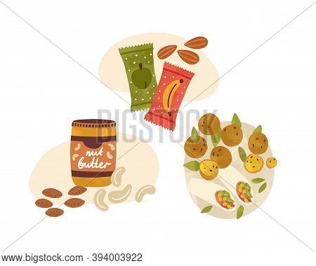 Flat Vector Cartoon Illustration Of Vegetarian Snacks And Desserts. Vegan Nutritious Food Compositio