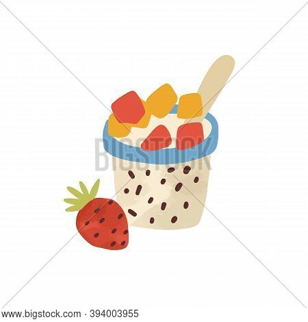 Flat Vector Simple Cartoon Illustration Of Yoghurt With Succade And Strawberry. Tasty Dairy Dessert