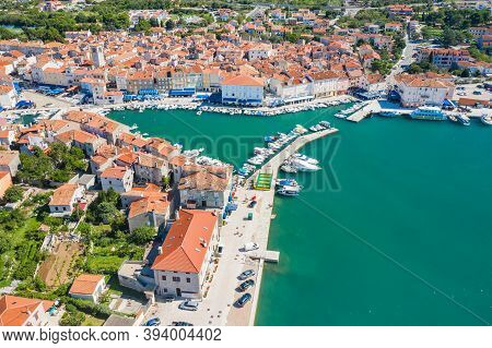 Panoramic View Of Marina And Old Town Of Cres In Croatia