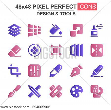 Design And Tools Glyph Icon Set. Pen, Crop, Eraser, Color Palette, Selection, Pencil, Rotate, Eyedro