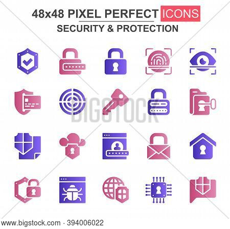 Security And Protection Glyph Icon Set. Password, Padlock, Fingerprint, Retina Scan, Firewall, Bug,