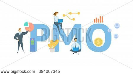 Pmo, Program Management Office. Concept With Keywords, People And Icons. Flat Vector Illustration. I
