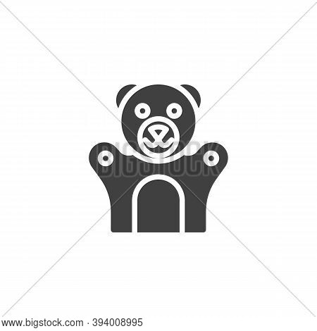 Teddy Bear Finger Puppet Vector Icon. Filled Flat Sign For Mobile Concept And Web Design. Finger Toy