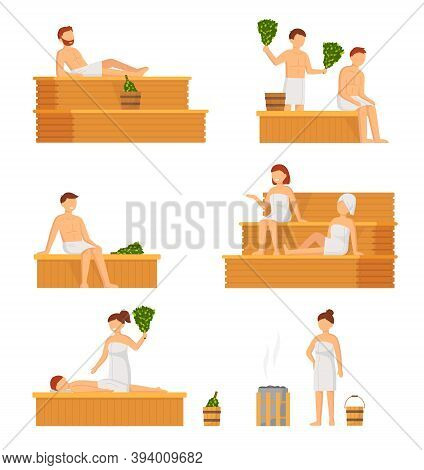 Bath, Sauna And Spa Procedures Isolated. People In Banya. Relaxation Body Care And Therapy, Aromathe