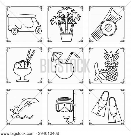 Thailand Symbols Set Vector Illustration Tuk-tuk, Palm Trees, Inflatable Ring, Mattress, Ice Cream,