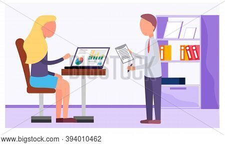 Businessman And Woman Analyzing Financial Statistics. The Marketers Study Information About The Metr