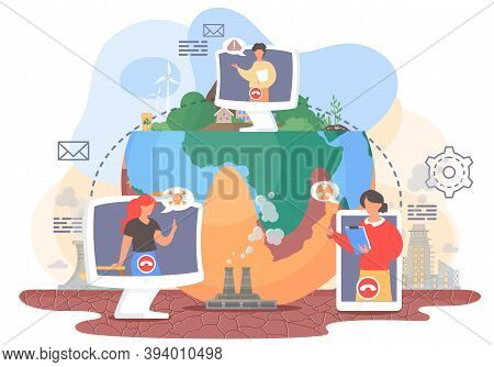 Videoconferencing, Online Meeting Workspace. Video Call Chat Conference. Women And Man Speaking Over