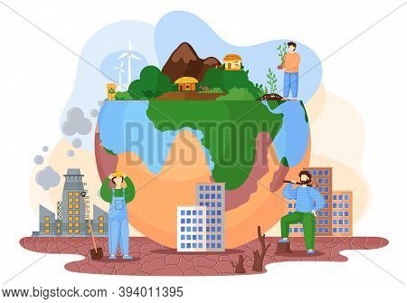 Planet With Green Trees And Bushes Surrounded By A Lifeless Land With Cracks, Environmental Pollutio